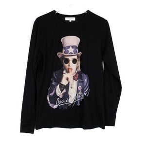 Les Benjamins Black Long Sleeve Graphic Tee L